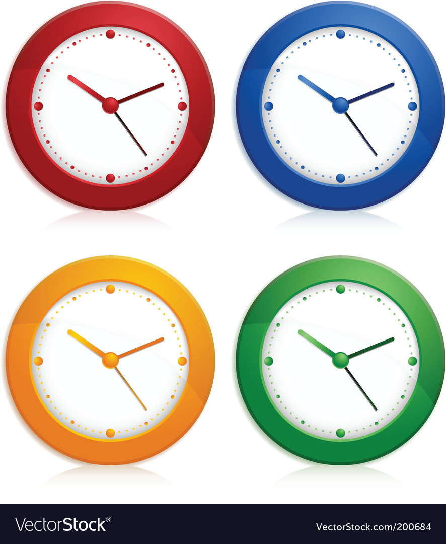 Color wall clocks vector | Price: 1 Credit (USD $1)