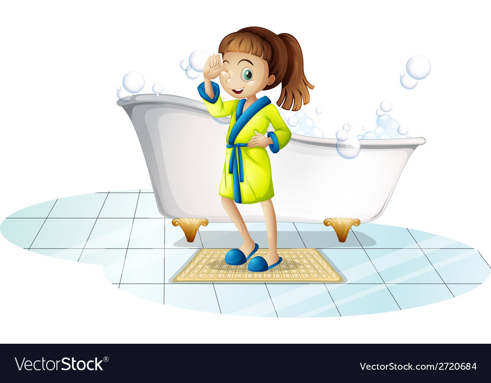 Girl and bathtub vector | Price: 1 Credit (USD $1)