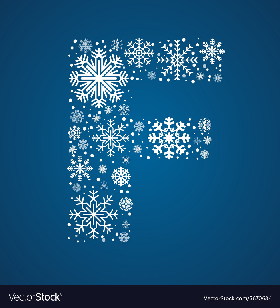 Letter f font frosty snowflakes vector | Price: 1 Credit (USD $1)