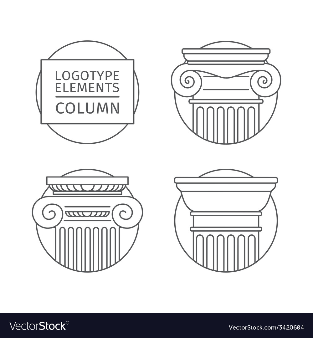 Line flat icons columns elements of a corporate vector | Price: 1 Credit (USD $1)