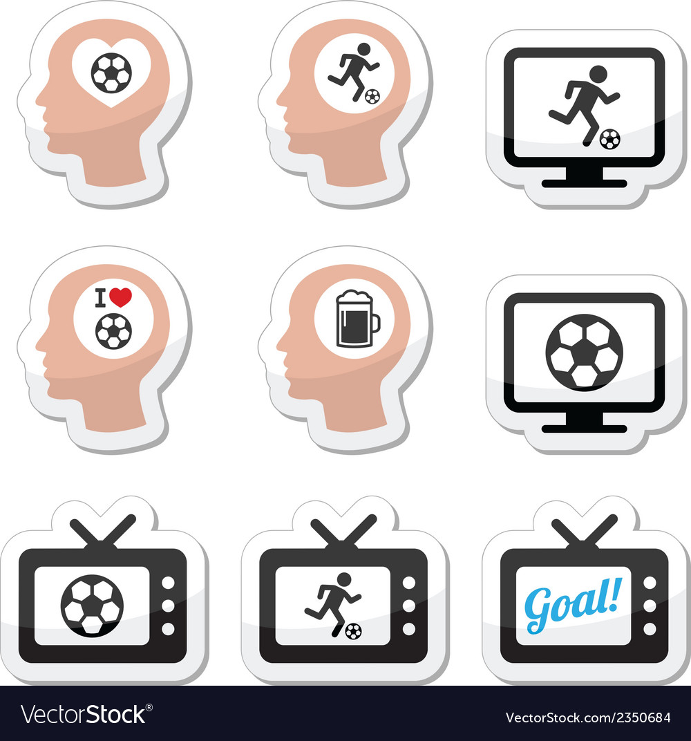 Man loving football or soccer icons set vector | Price: 1 Credit (USD $1)