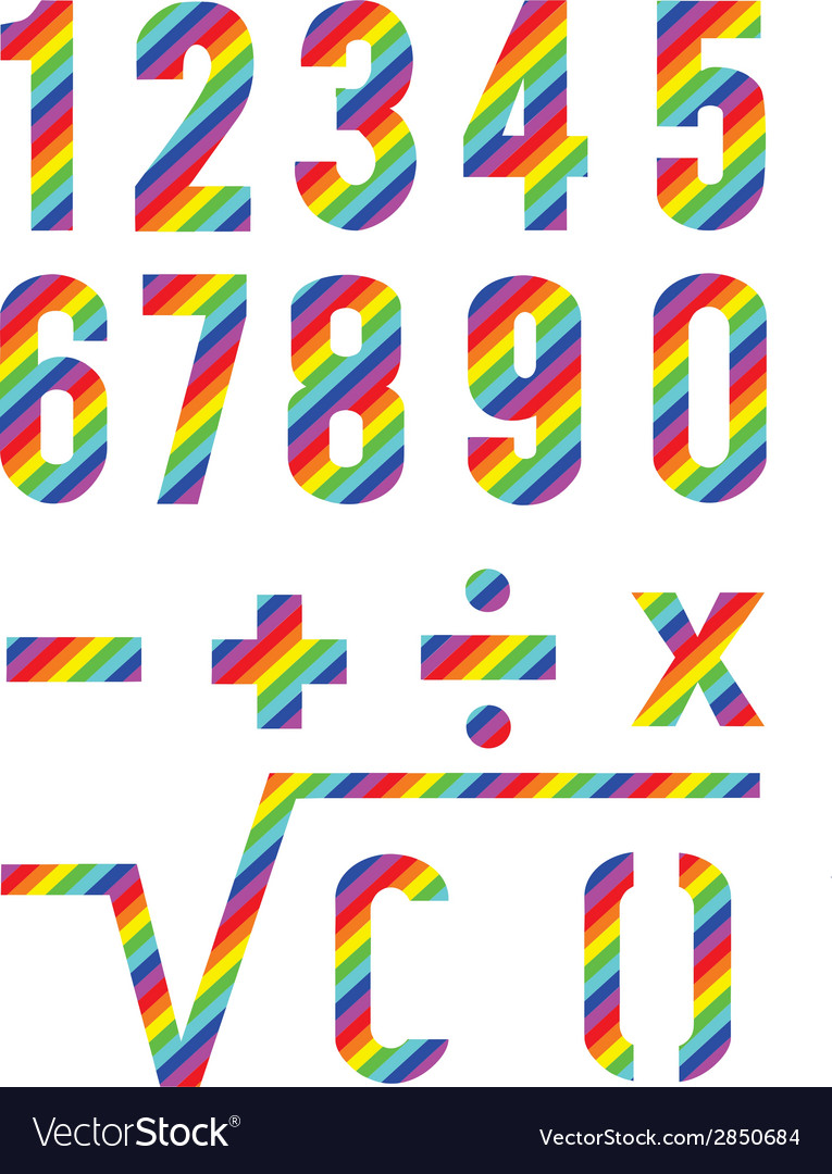 Numbers rainbow style vector | Price: 1 Credit (USD $1)