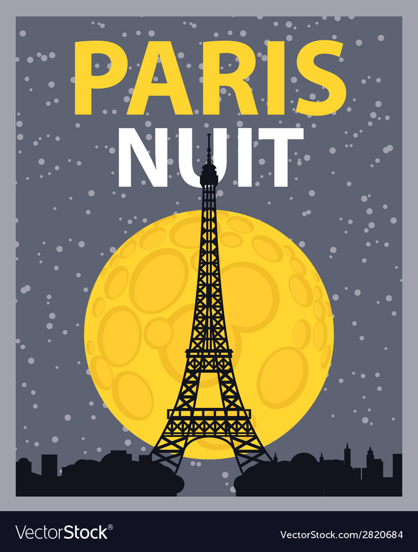 Paris night vector | Price: 1 Credit (USD $1)