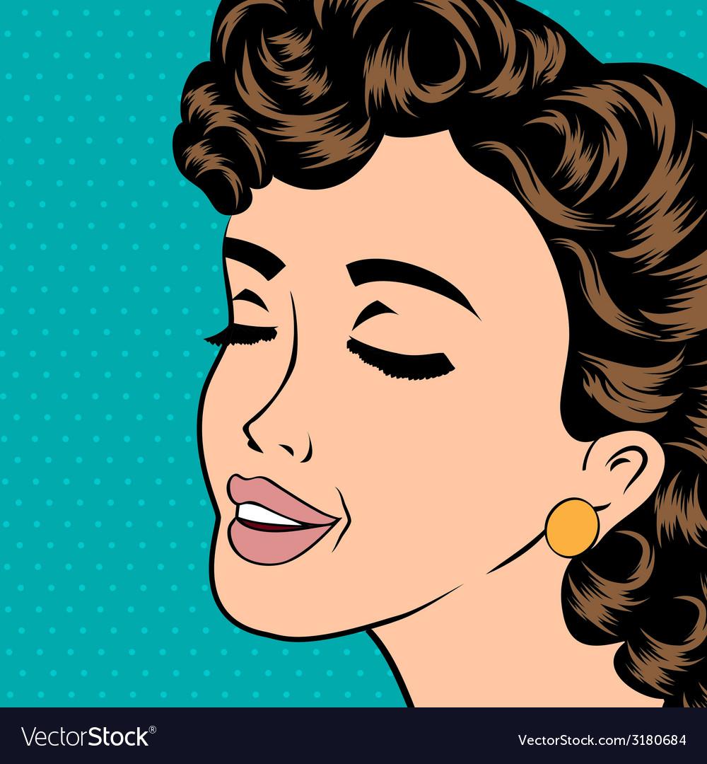 Pop art cute retro woman in comics style vector | Price: 1 Credit (USD $1)