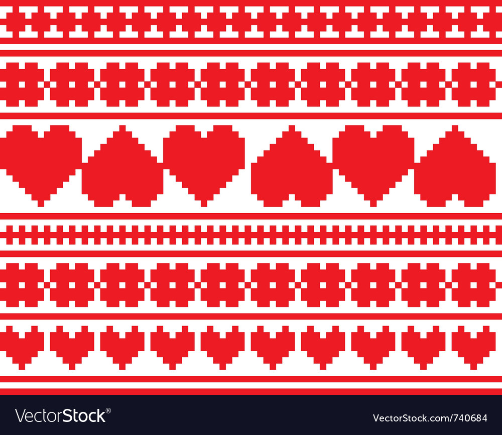 Seamless knitted valentine pattern vector | Price: 1 Credit (USD $1)