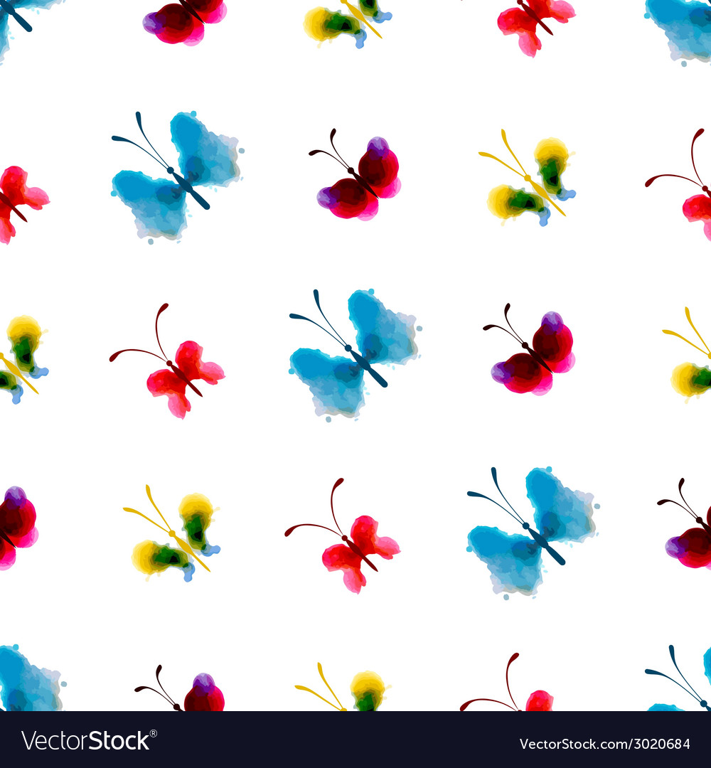 Seamless pattern of watercolor butterflies vector | Price: 1 Credit (USD $1)