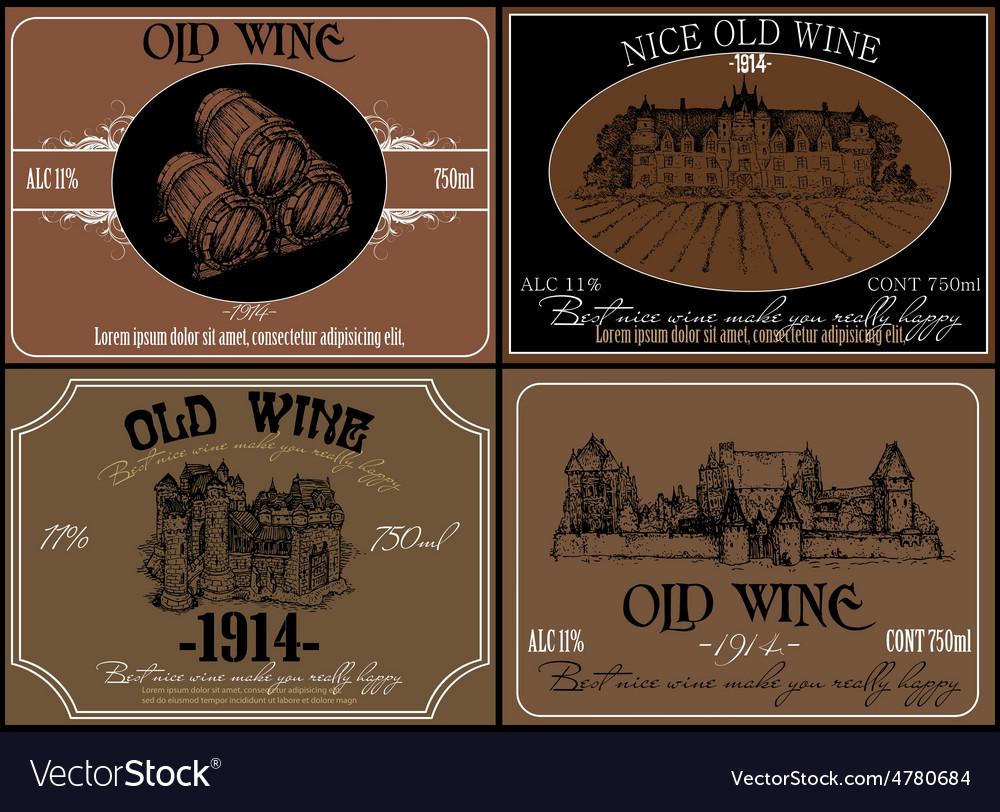 Set of wine labels vector   Price: 3 Credit (USD $3)