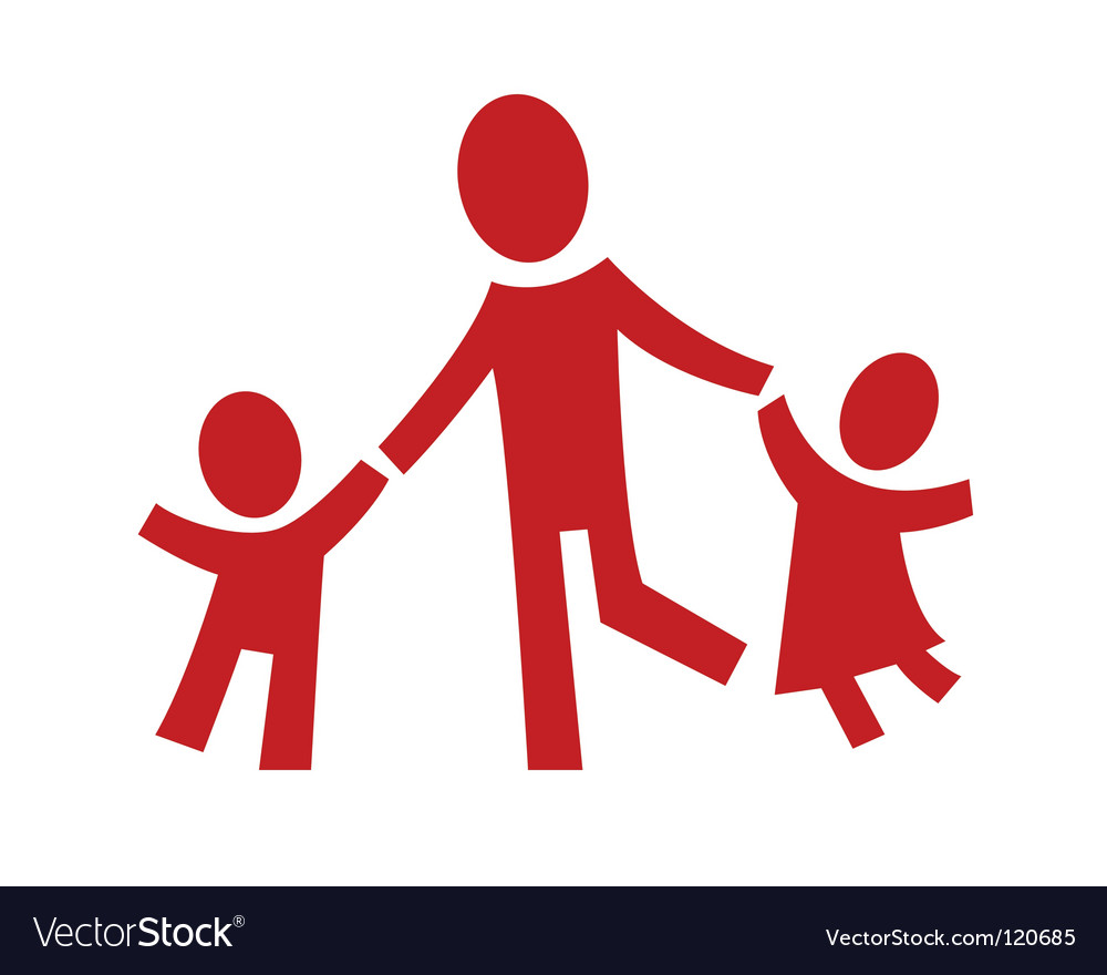 Adult and two children vector | Price: 1 Credit (USD $1)