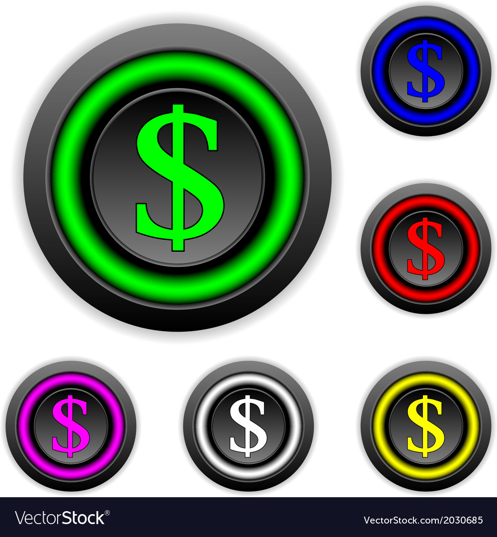 Dollar buttons set vector | Price: 1 Credit (USD $1)