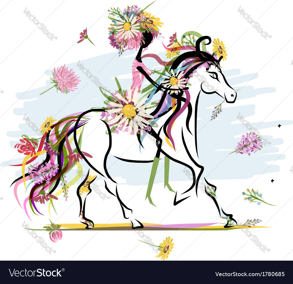 Floral girl on white horse for your design vector   Price: 1 Credit (USD $1)