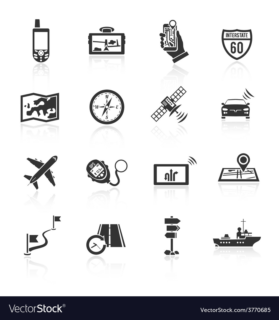 Navigation icons set black vector | Price: 1 Credit (USD $1)