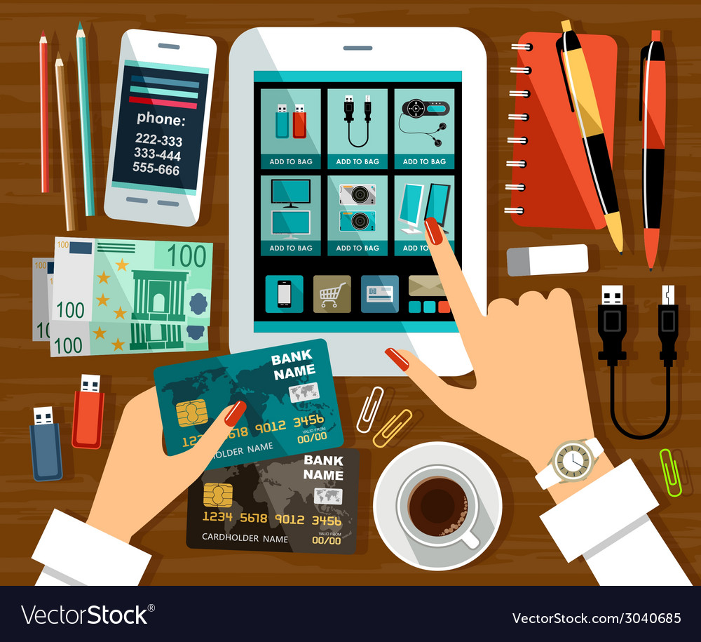 Online shop on the tablet screen vector | Price: 3 Credit (USD $3)