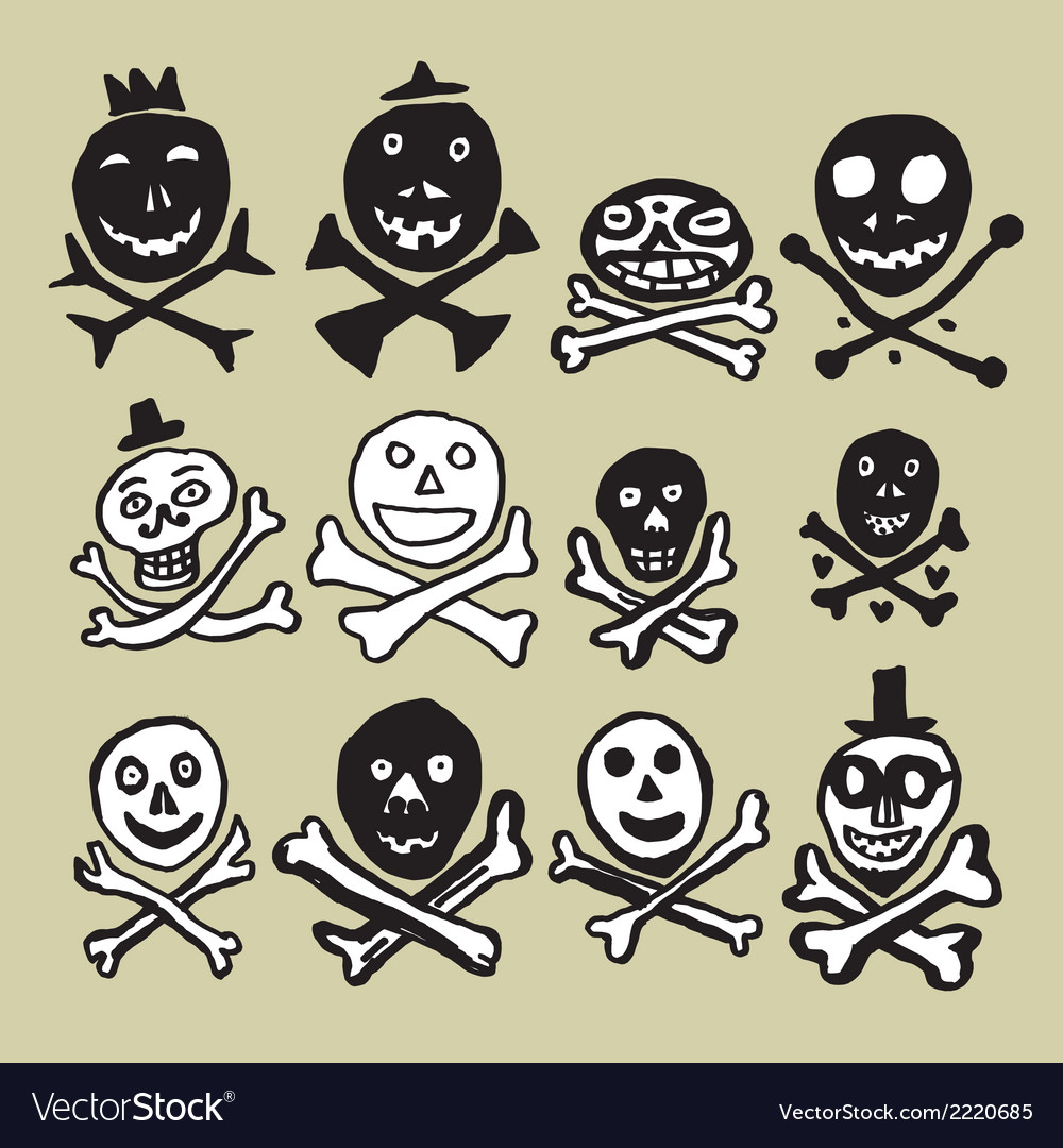 Primitive skulls inspired by naive art vector | Price: 1 Credit (USD $1)