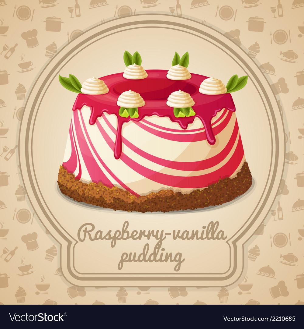 Raspberry vanilla pudding label vector | Price: 3 Credit (USD $3)