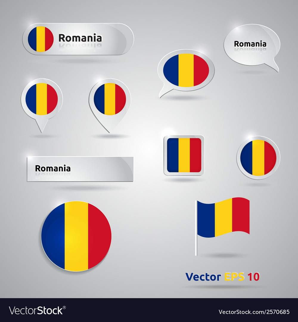 Romania icon set of flags vector | Price: 1 Credit (USD $1)
