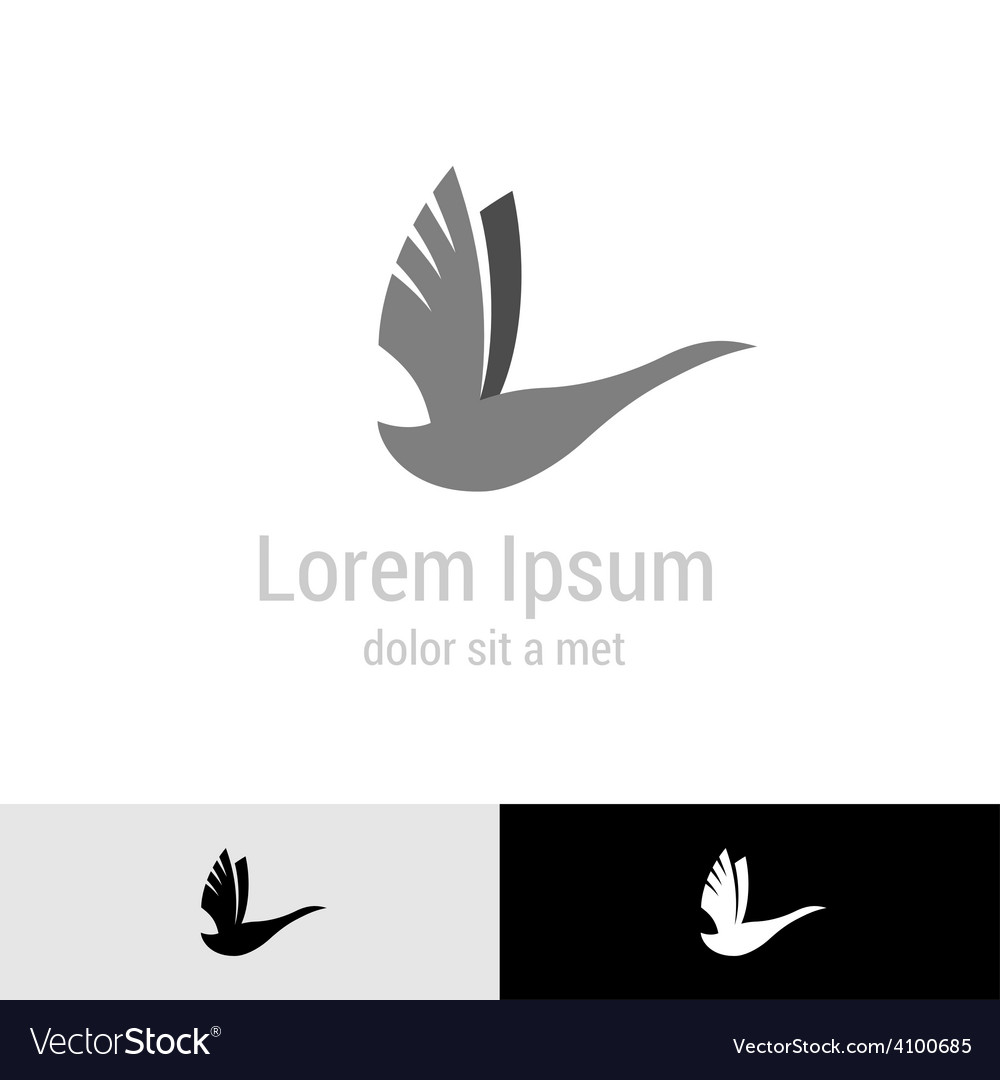 Swan silhouette logo template vector