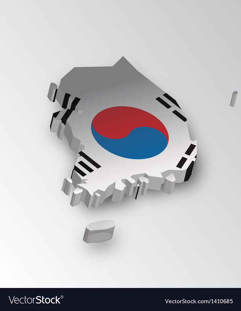 Three dimensional map of south korea in flag color vector | Price: 1 Credit (USD $1)