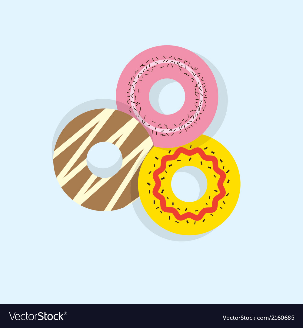 Three donuts vector | Price: 1 Credit (USD $1)