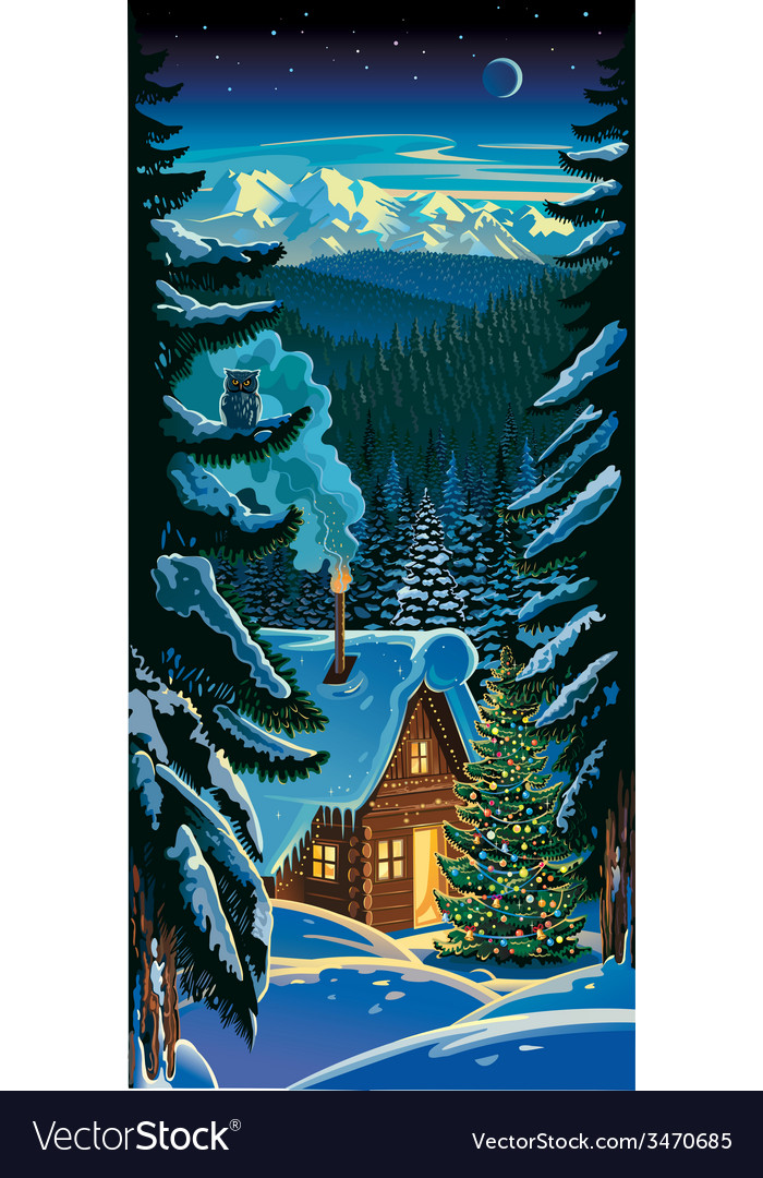 Winter forest landscape with a hut and christmas vector | Price: 5 Credit (USD $5)