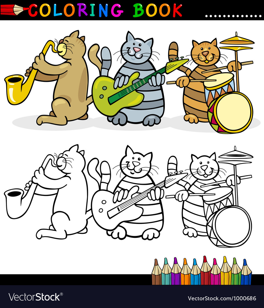 Cats band for coloring book or page vector | Price: 3 Credit (USD $3)