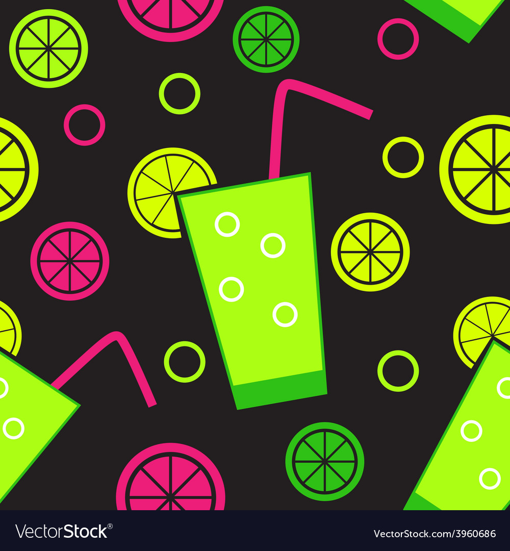 Citrus cocktail seamless pattern background vector | Price: 1 Credit (USD $1)