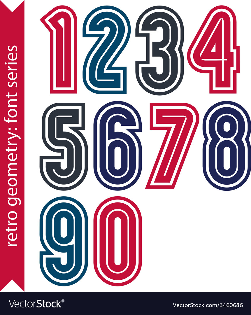 Colorful regular stripy numeration black and red vector | Price: 1 Credit (USD $1)