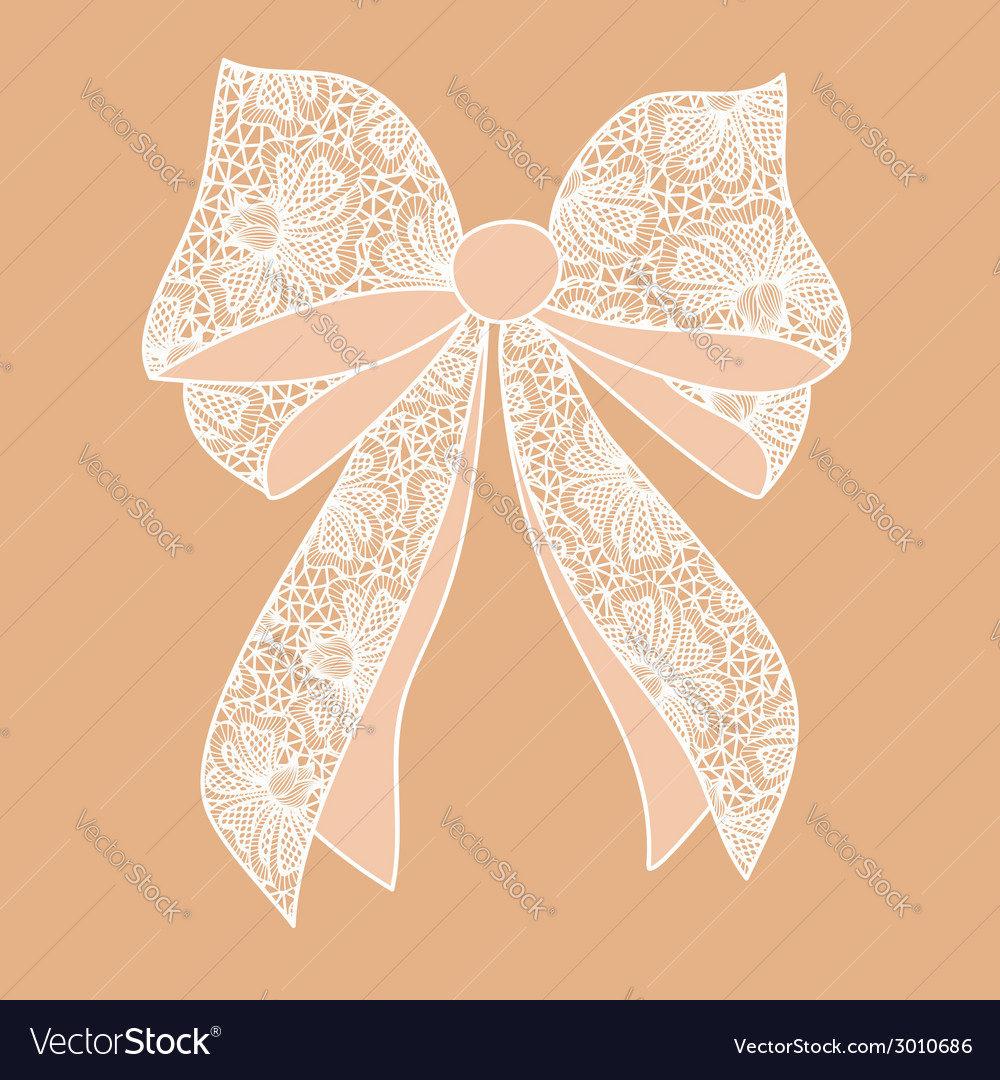 Decorative white lacy bow on beige background vector | Price: 1 Credit (USD $1)