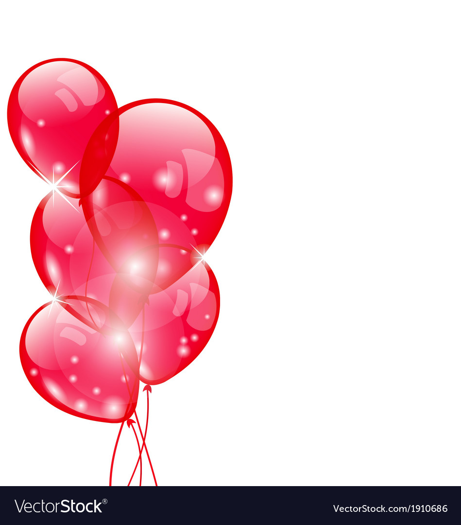 Flying red balloons isolated on white background vector | Price: 1 Credit (USD $1)