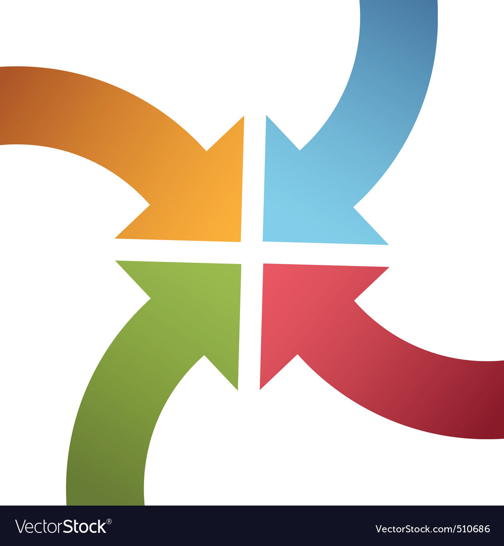 Four curve color arrows converge point center vector | Price: 1 Credit (USD $1)