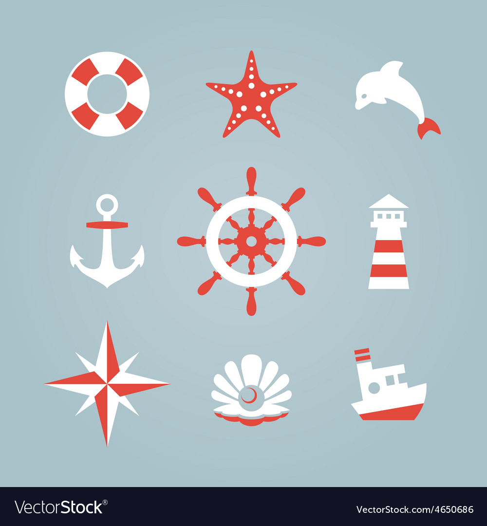 Sea icon collection isolated on a blue background vector | Price: 1 Credit (USD $1)