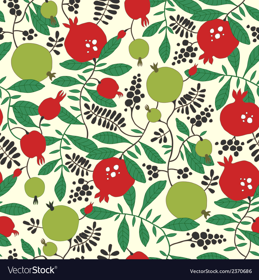 Seamless pattern of pomegranate and apple tree vector | Price: 1 Credit (USD $1)