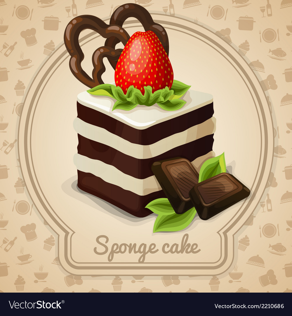 Sponge cake label vector | Price: 3 Credit (USD $3)