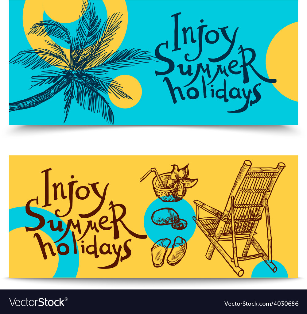 Summer beach banners vector | Price: 1 Credit (USD $1)