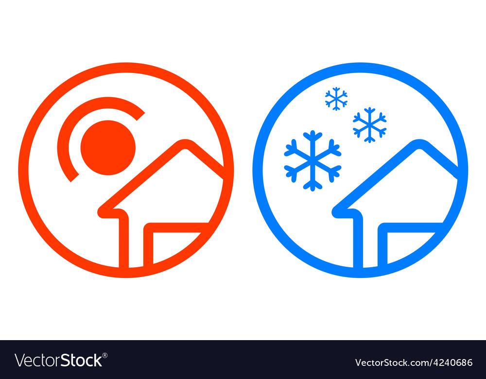 Sun and snowflake icon set vector   Price: 1 Credit (USD $1)