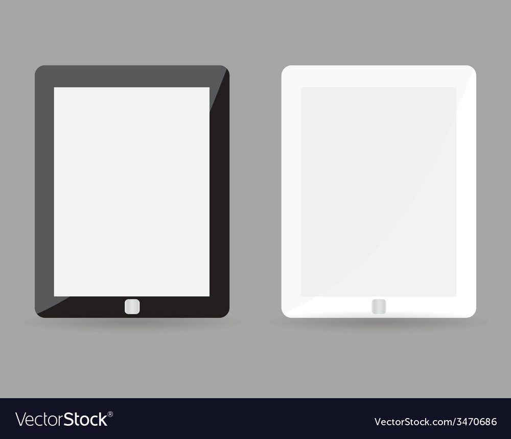 Two realistic tablet pc concept - black and white vector | Price: 1 Credit (USD $1)