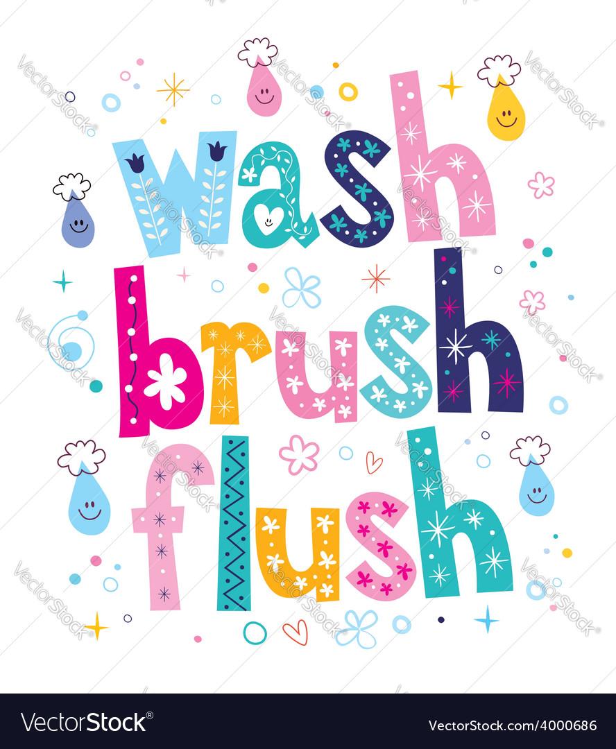 Wash brush flush decorative lettering type design vector | Price: 1 Credit (USD $1)