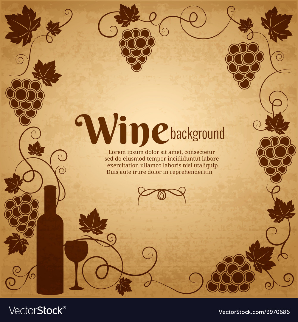 Wine and grapes frame with central copyspace vector | Price: 1 Credit (USD $1)