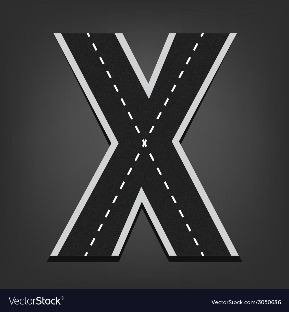 X letter road font vector | Price: 1 Credit (USD $1)