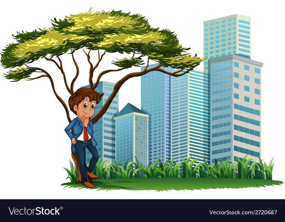 A man under the tree across the tall buildings vector | Price: 1 Credit (USD $1)