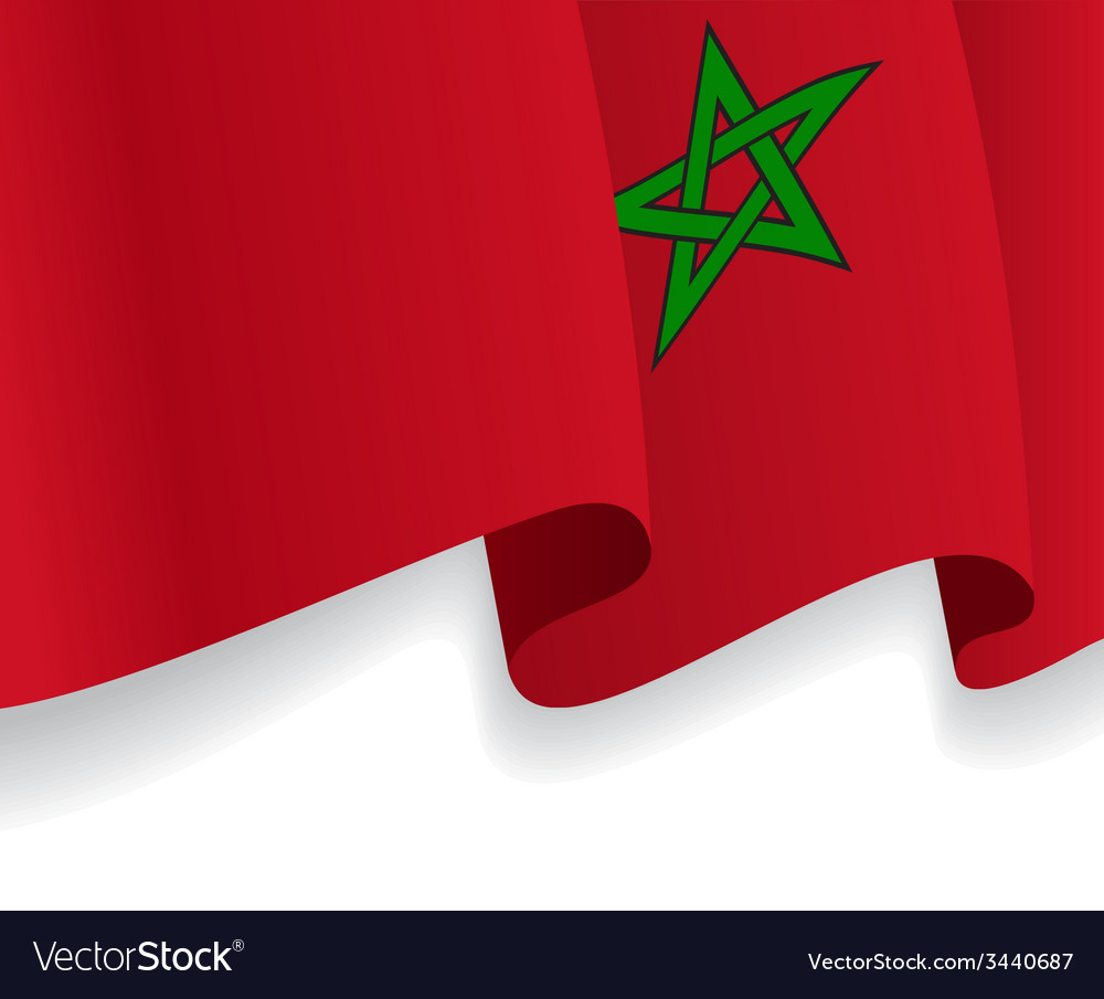 Background with waving moroccan flag vector | Price: 1 Credit (USD $1)
