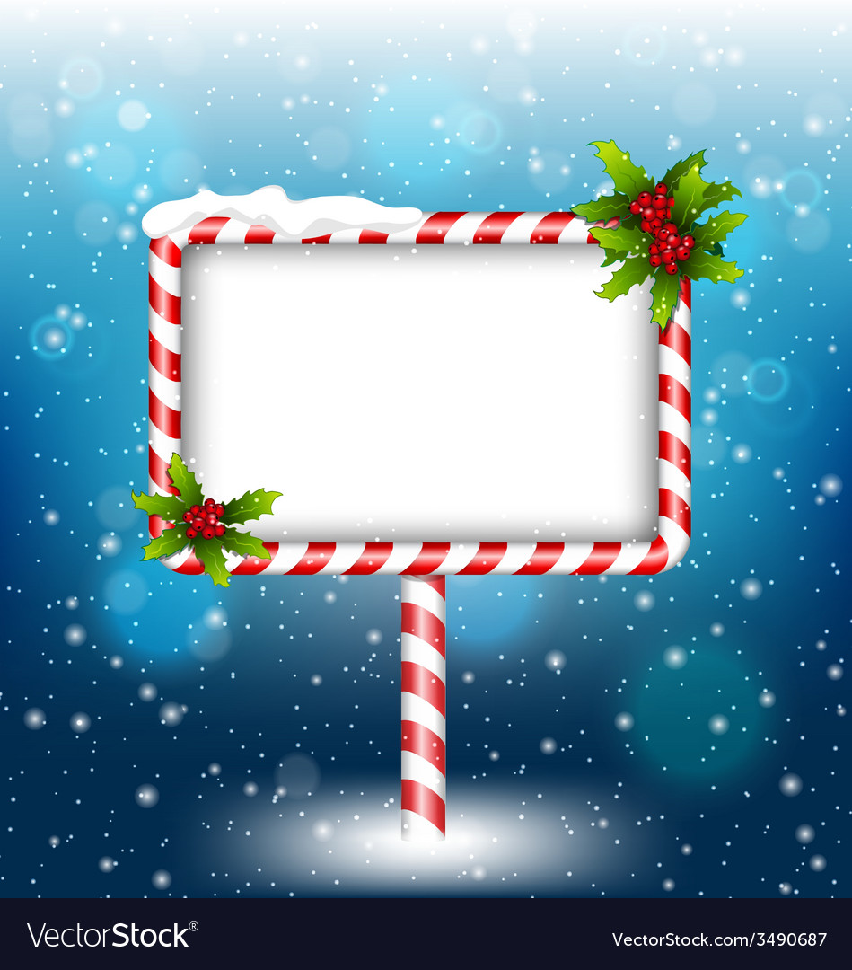 Candy cane billboard with holly in snowfall vector | Price: 1 Credit (USD $1)
