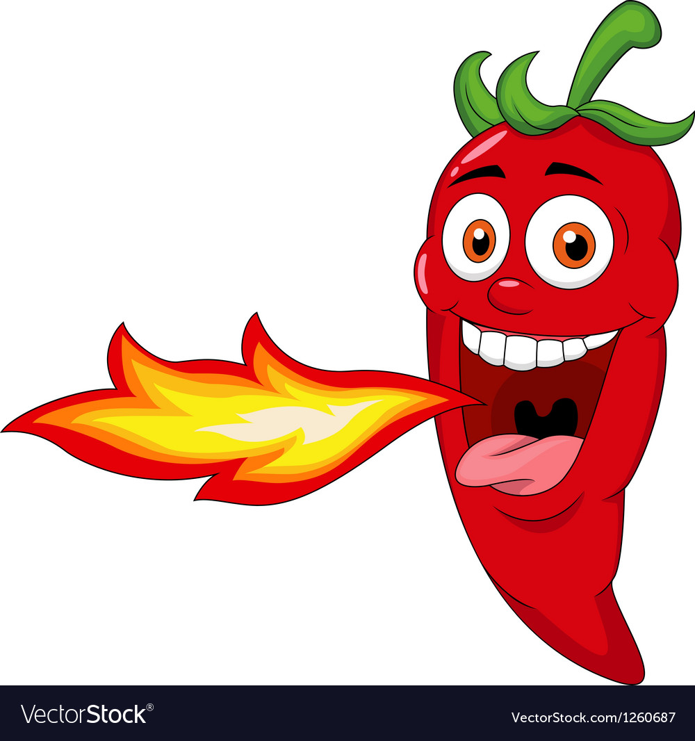 Chili cartoon character breathing fire vector | Price: 3 Credit (USD $3)