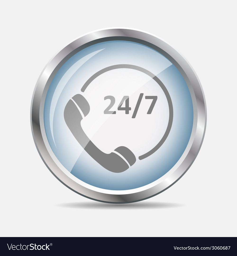 Customer service 24-7 glossy icon vector | Price: 1 Credit (USD $1)
