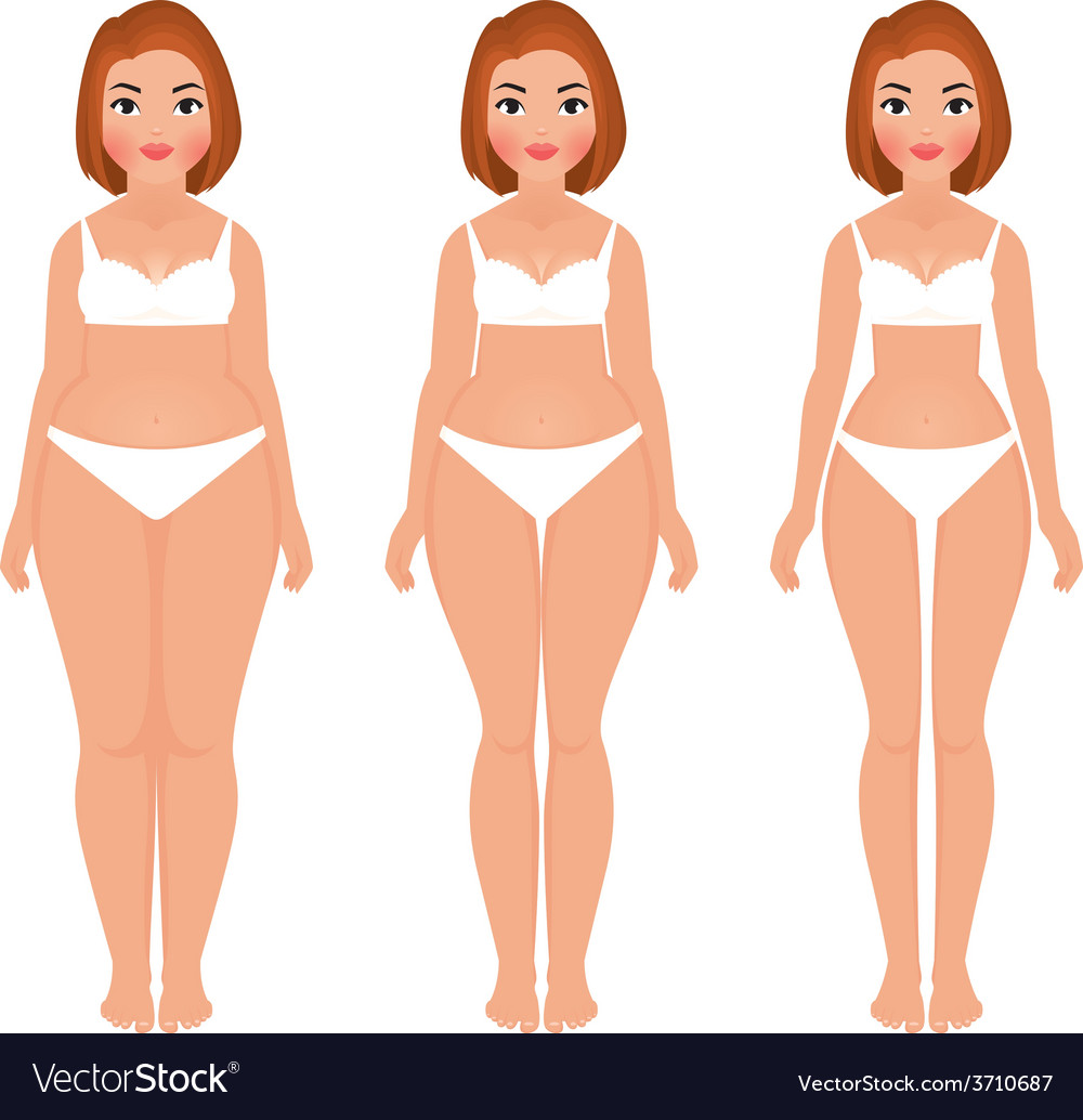 Fat to slim woman weight loss transformation front vector | Price: 1 Credit (USD $1)