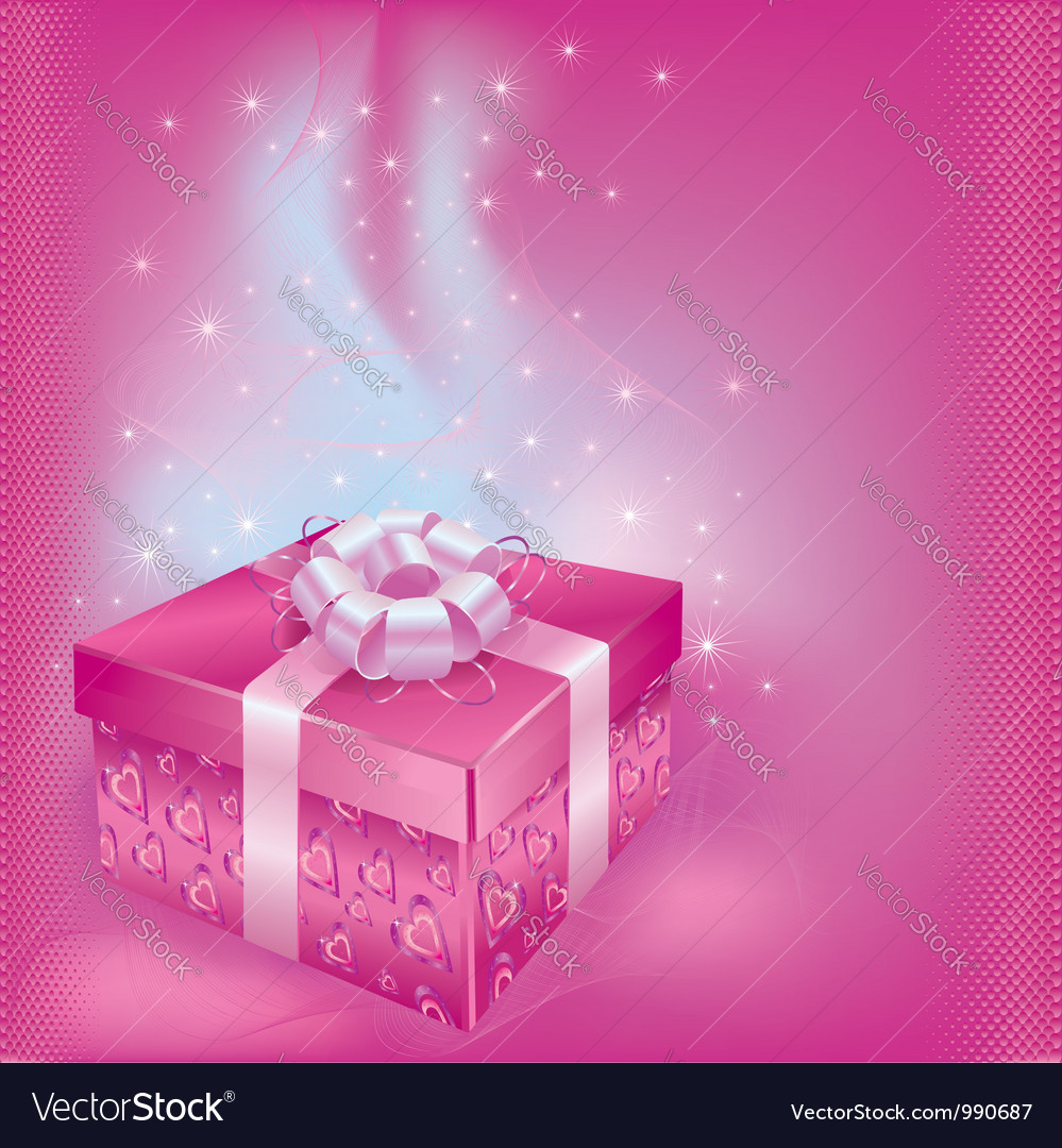 Festive card with gift box vector | Price: 1 Credit (USD $1)