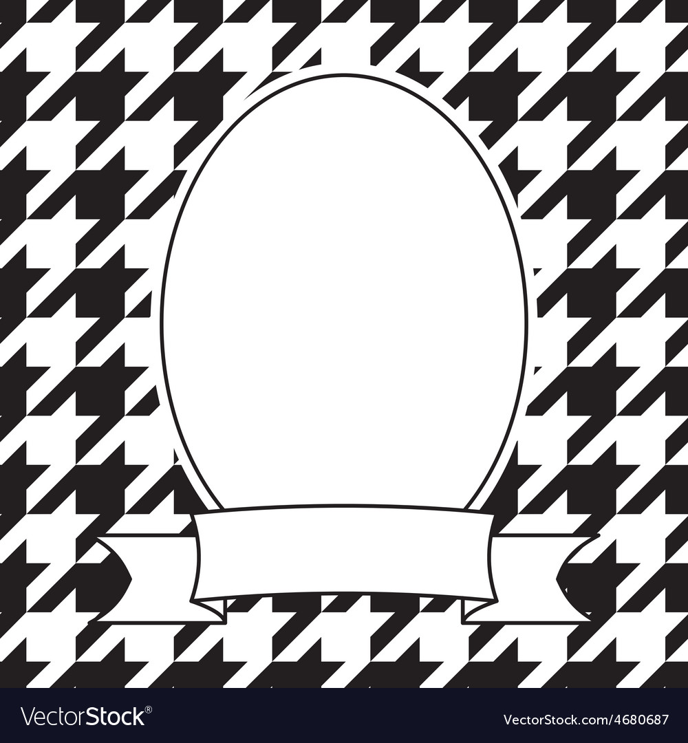 Hand drawn frame on houndstooth black and white vector | Price: 1 Credit (USD $1)