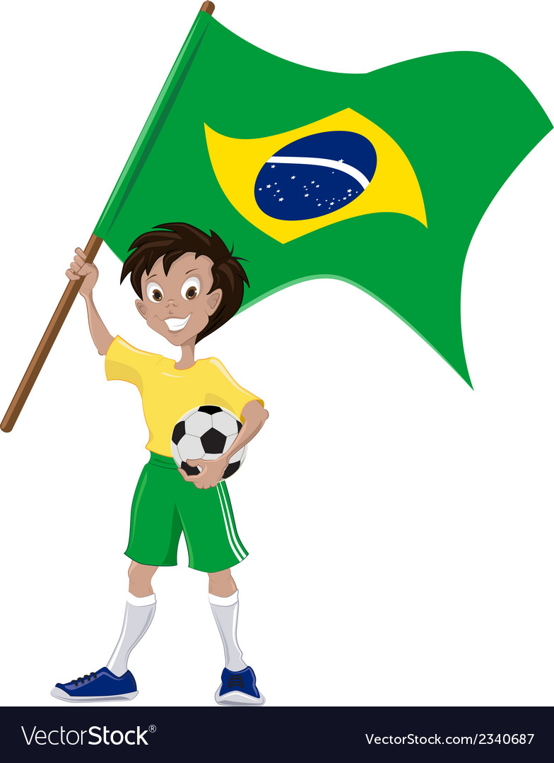 Happy soccer fan holds brazilian flag vector | Price: 1 Credit (USD $1)