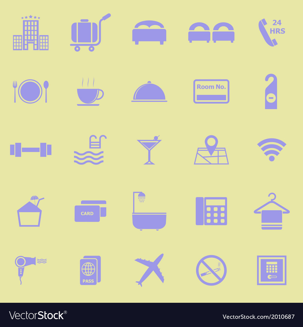 Hotel color icons on yellow background vector | Price: 1 Credit (USD $1)