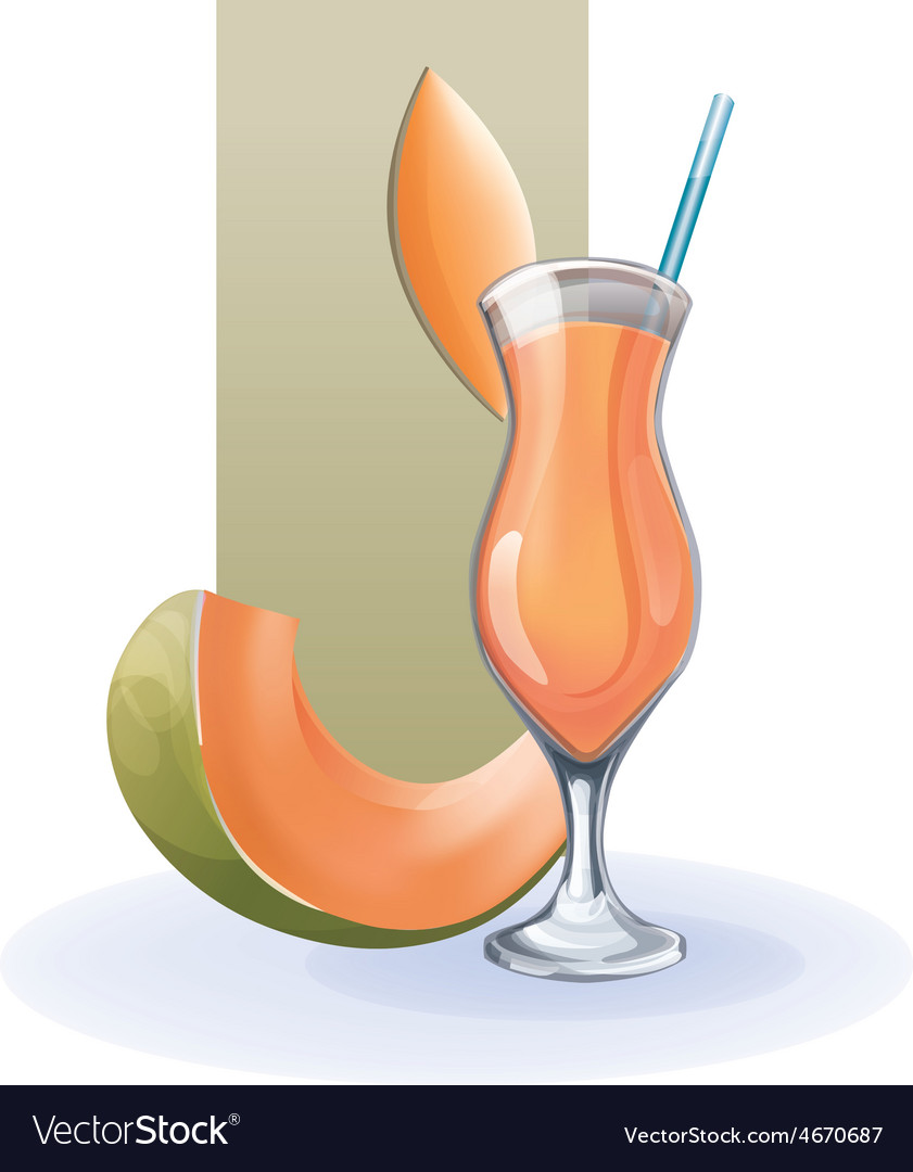 Melon in goblet of juice cocktail smoothie vector | Price: 1 Credit (USD $1)