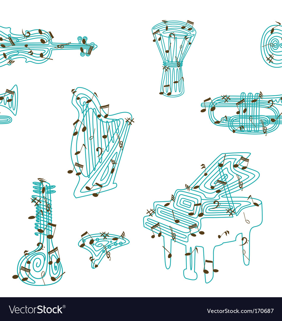 Musical instruments pattern vector | Price: 1 Credit (USD $1)